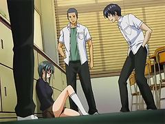 Black haired Anime craves dong and explodes in climax